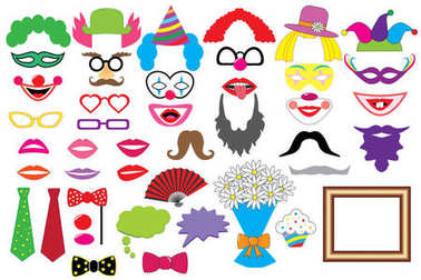 Party set. Clowns. Glasses, hats, lips, wigs, mustaches, tie and etc., icons