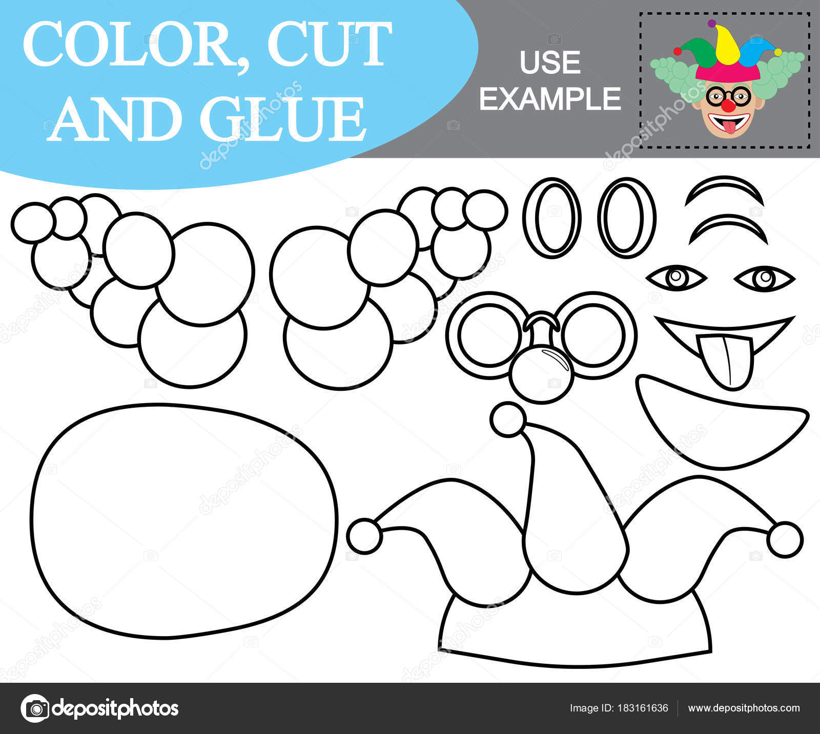 Paint Cut And Paste The Image Of Face Of Clown Game For Children