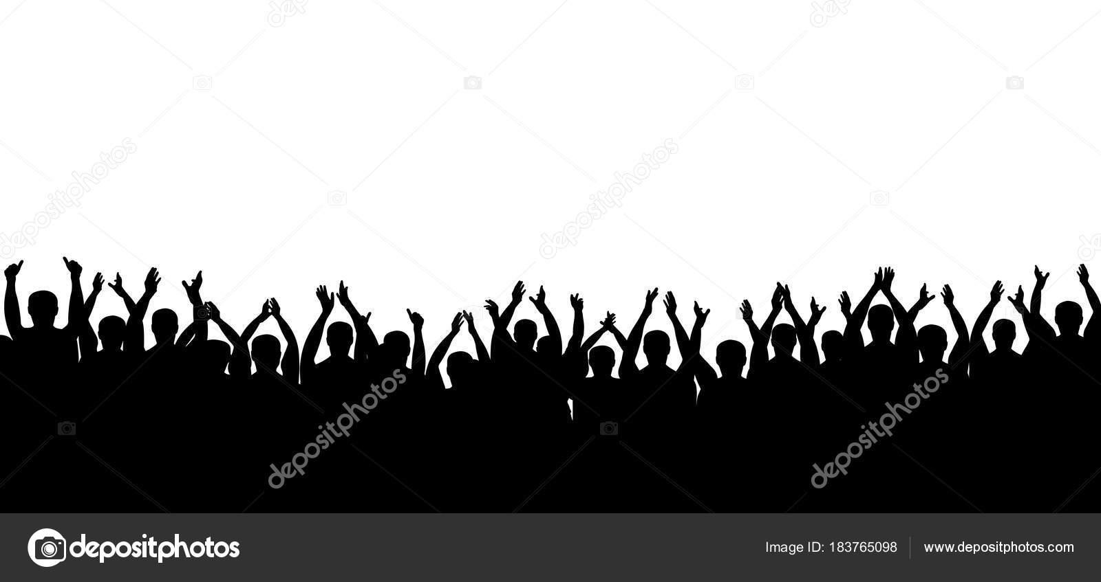 Multitud De Gente Silueta: Vector De Silueta De Multitud De Aplausos. Gente