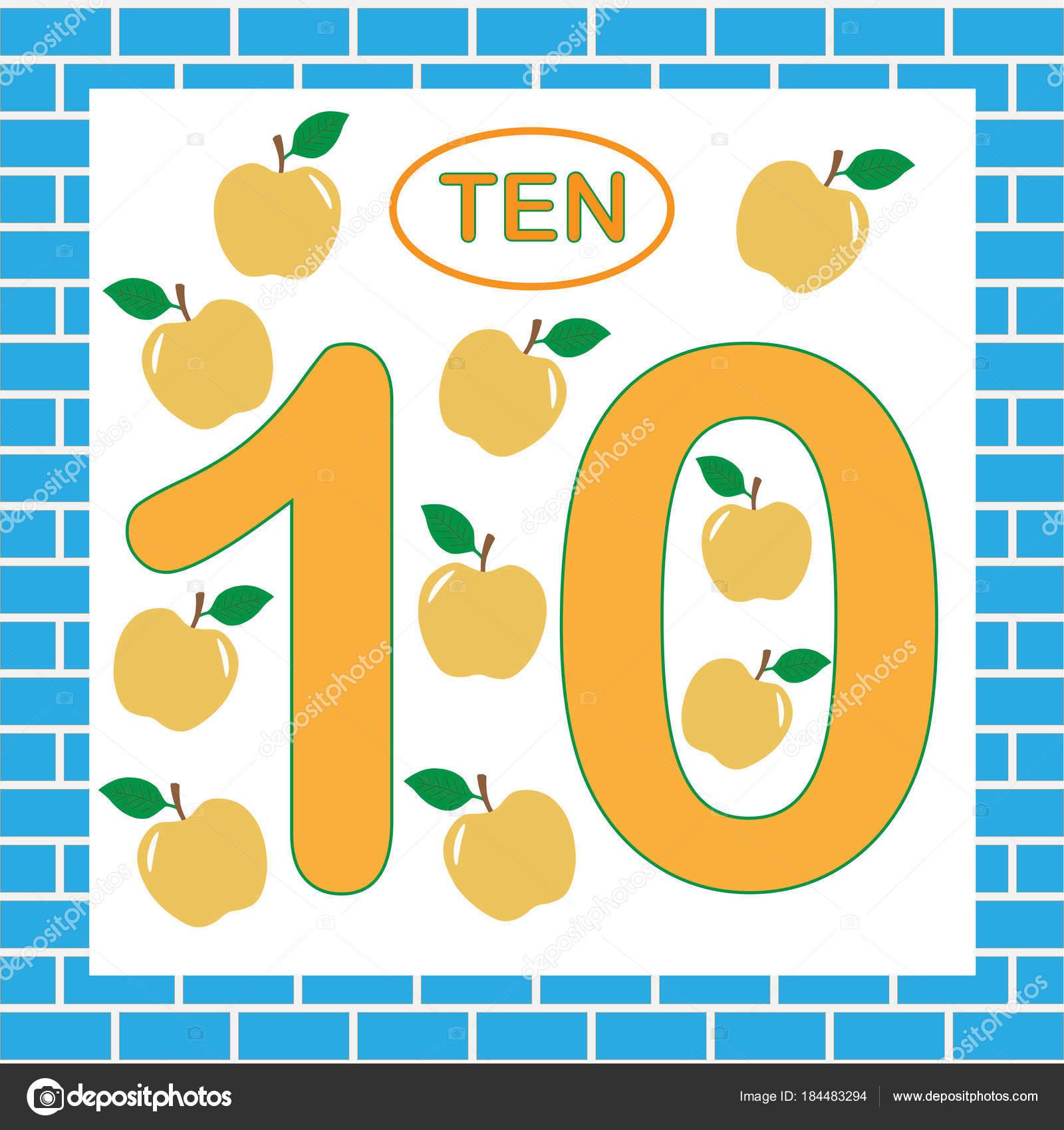 Karteikarten mit Nummer 10 (zehn). Bildung für Kinder im ...