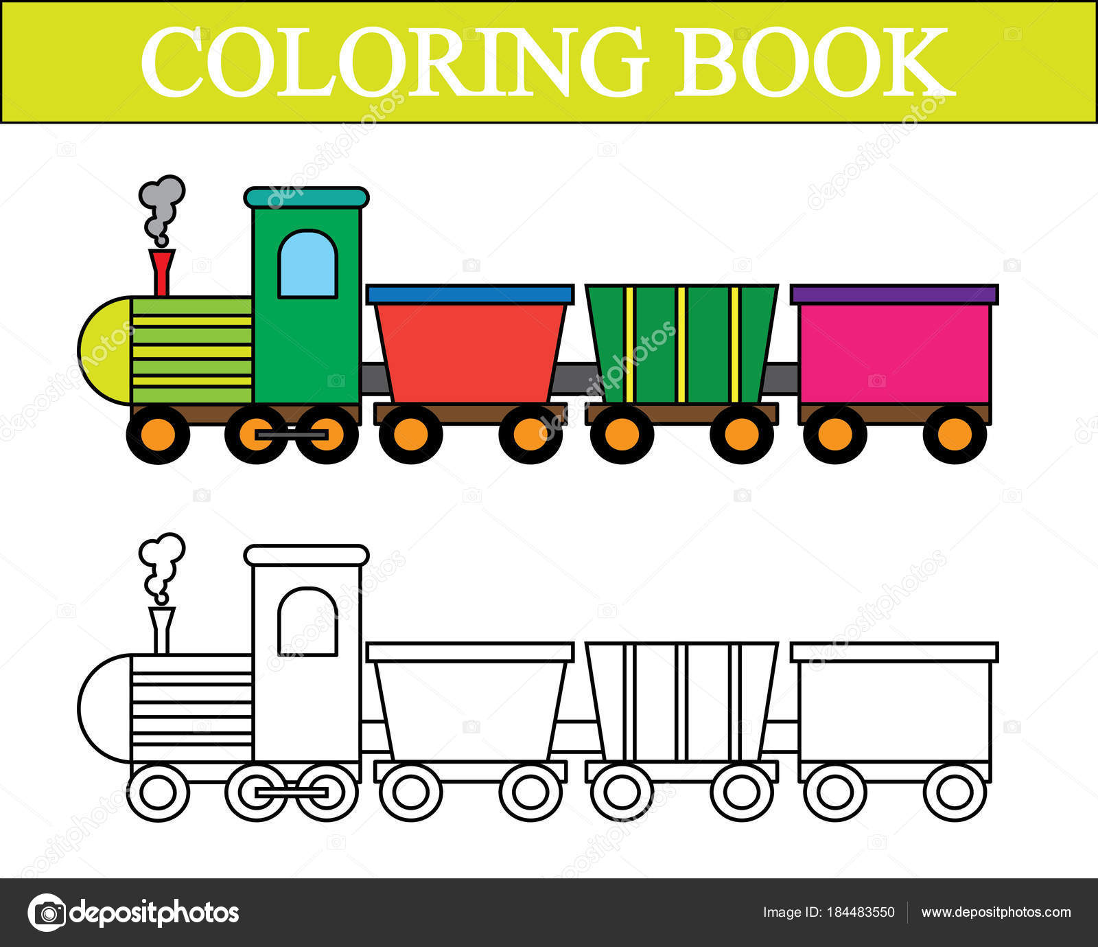 Boyama Kitabı Tren çizgi Film Vektör çizim Stok Vektör