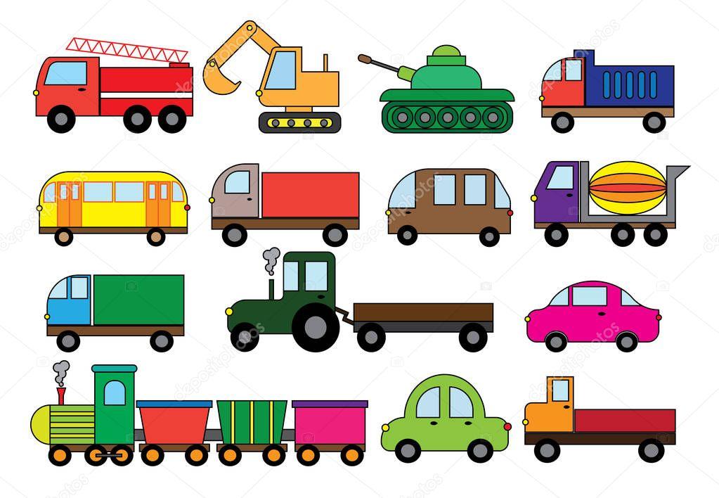 Dopravni Kreslene Vtipy Set Povrchu Druhu Dopravy Auto Autobus