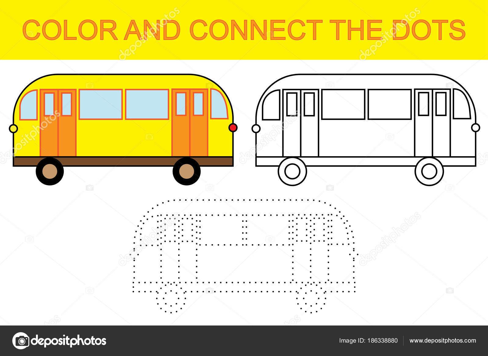 Lernspiel für Kinder. Farbe und verbinde die Punkte um Bus erstellen ...