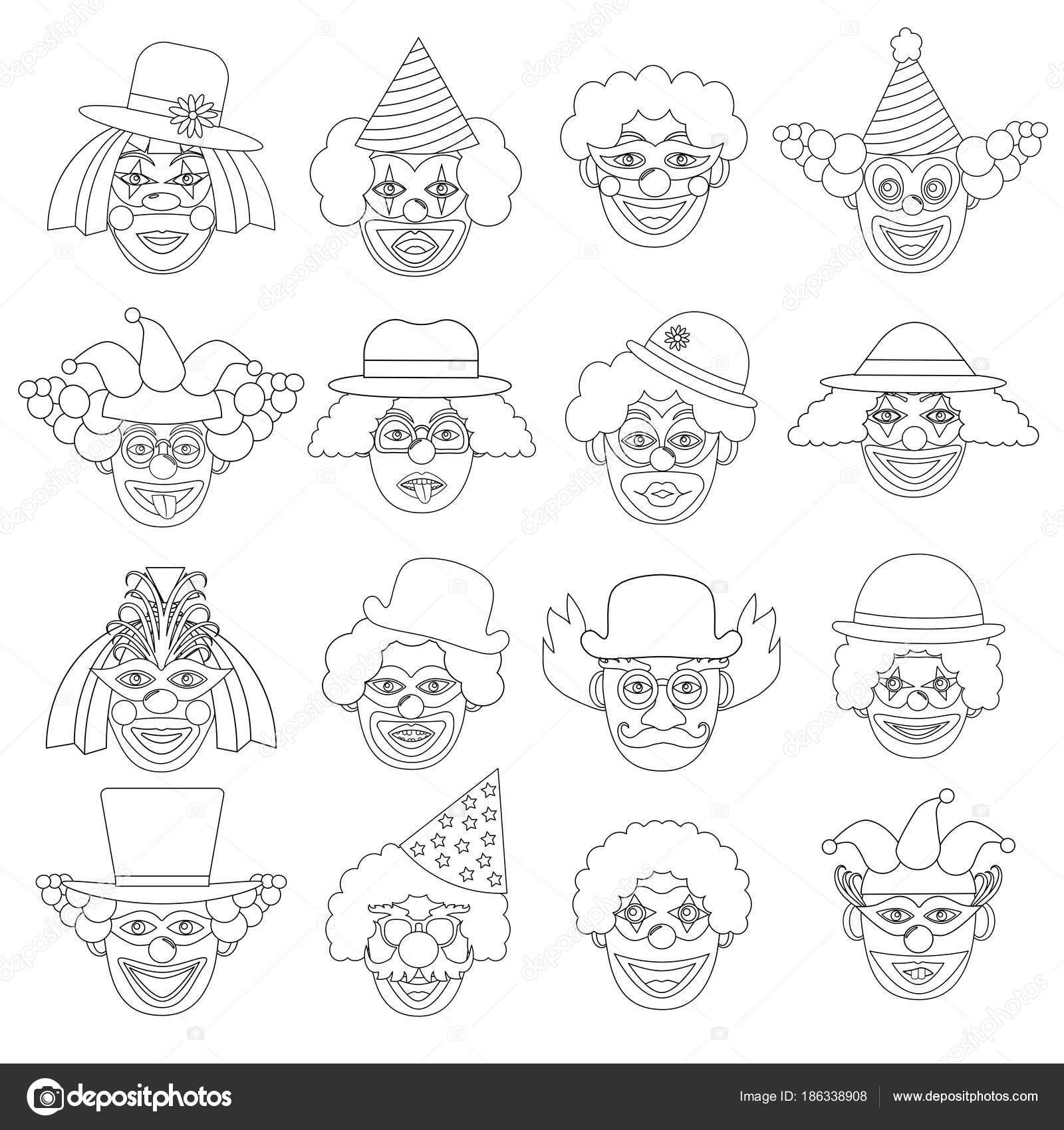 Clowns Set, Symbole. Malvorlagen. Vektor-illustration — Stockvektor ...