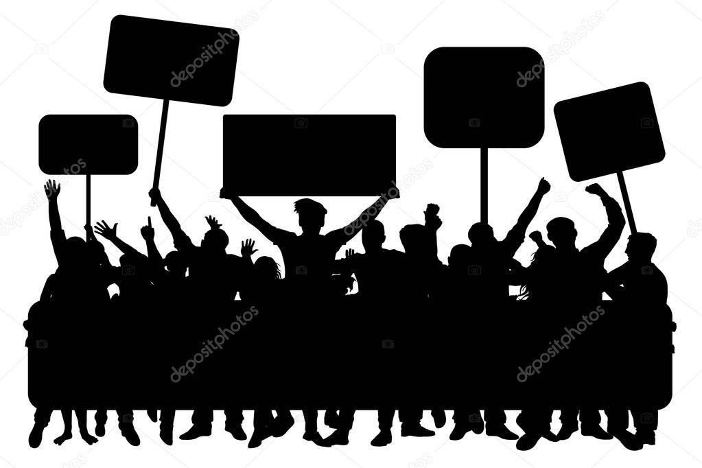 Multitud De Gente Silueta: Multitud De Gente Con Banderas, Vector De La Silueta