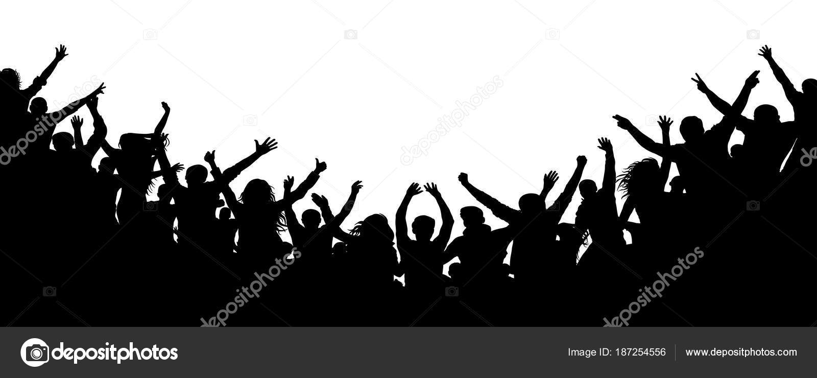 cheerful people crowd applauding silhouette party applause fans rh depositphotos com crown vector clipart crown vector free download