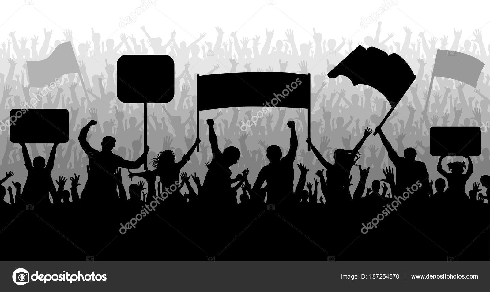Multitud De Gente Silueta: Demostración, Manifestación, Protesta, Huelga