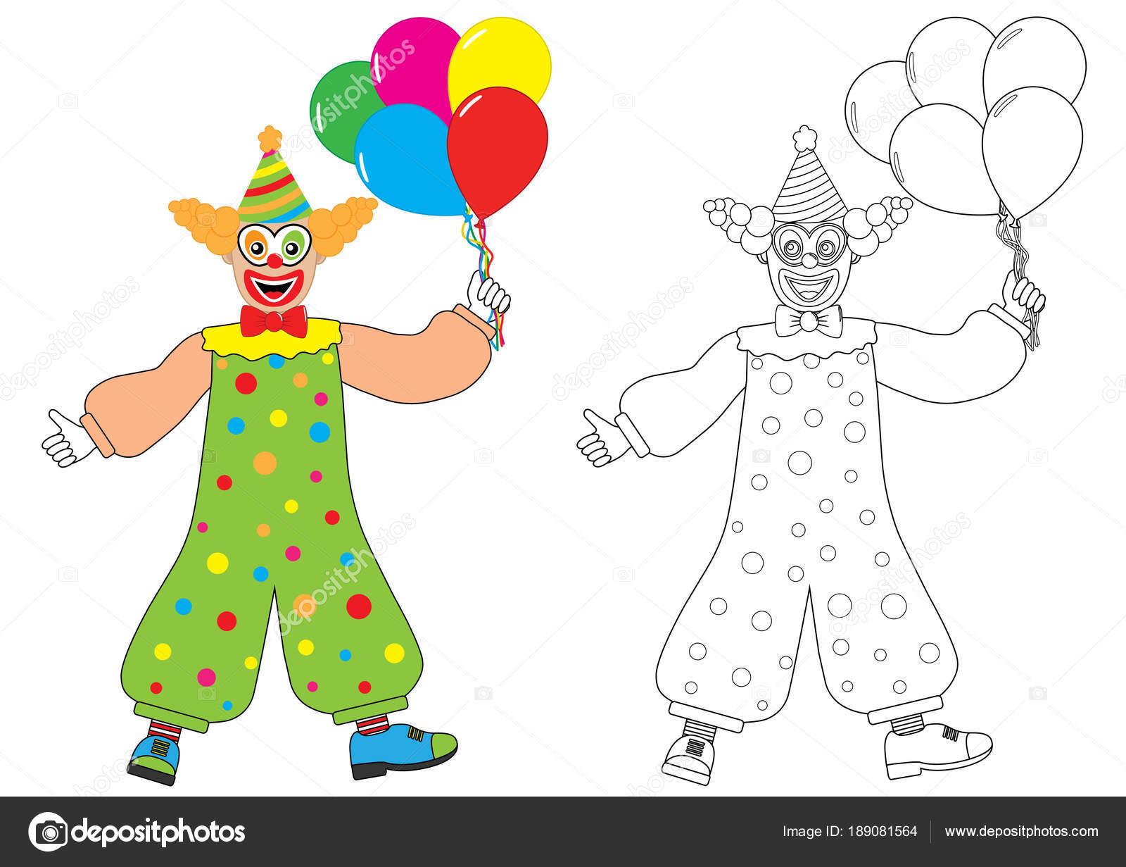 Payaso con globos. Libro de colorear. Actividad para niños — Archivo ...