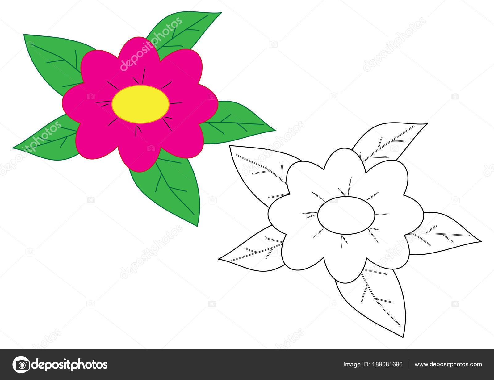 çiçek Karikatür Boyama Sayfası çocuklar Için Oyun Stok Vektör