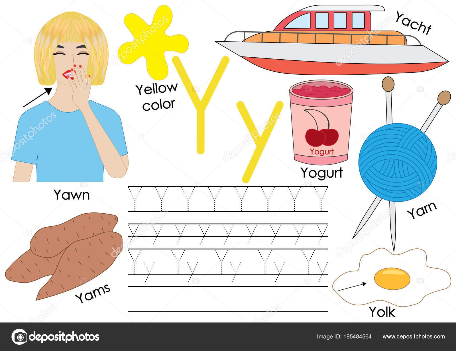 Buchstabe Y. Learning English Alphabet mit Bildern und schreiben ...