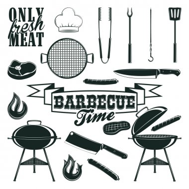 monochrome barbecue icons set