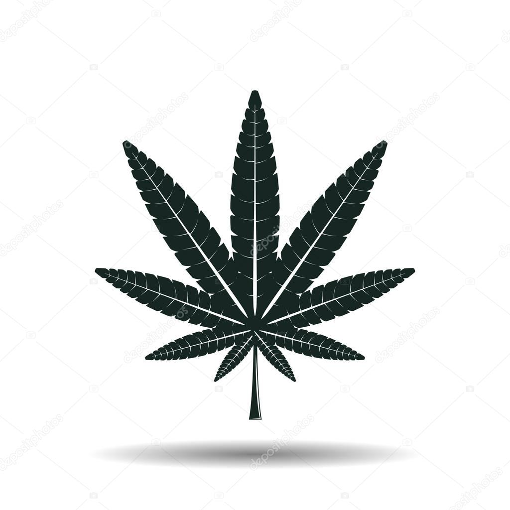 Monochrome cannabis leaf sign