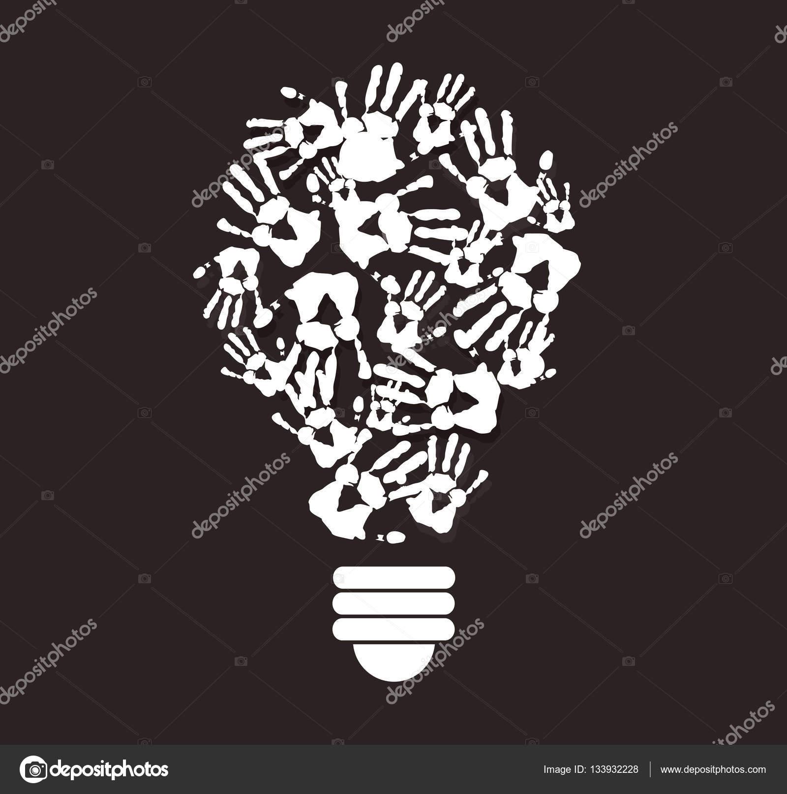 Colorful handprint in lightbulb shape symbol of thinking concept colorful handprint in lightbulb shape symbol of thinking concept stock vector biocorpaavc