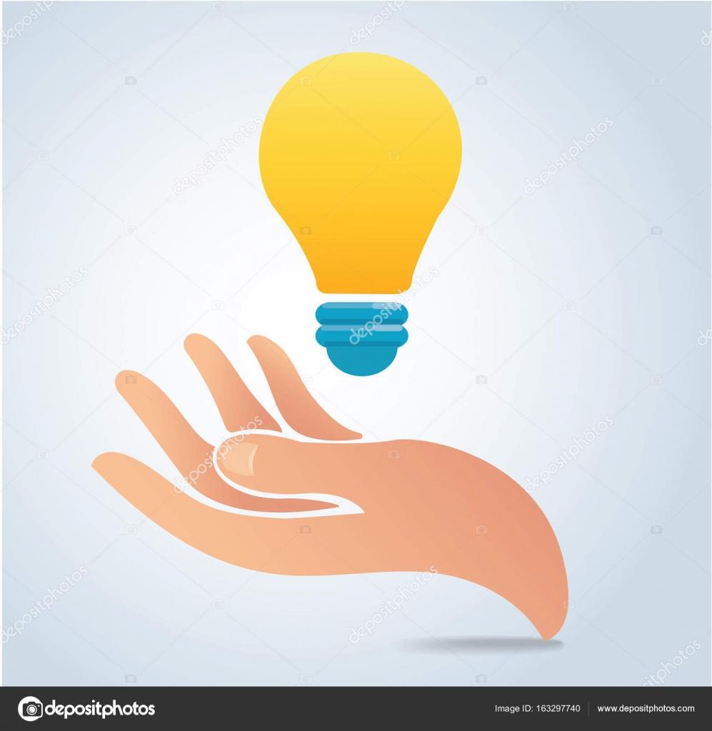 Hand Holding Light Bulb Vector A Concept Of Idea Stock Vector C H