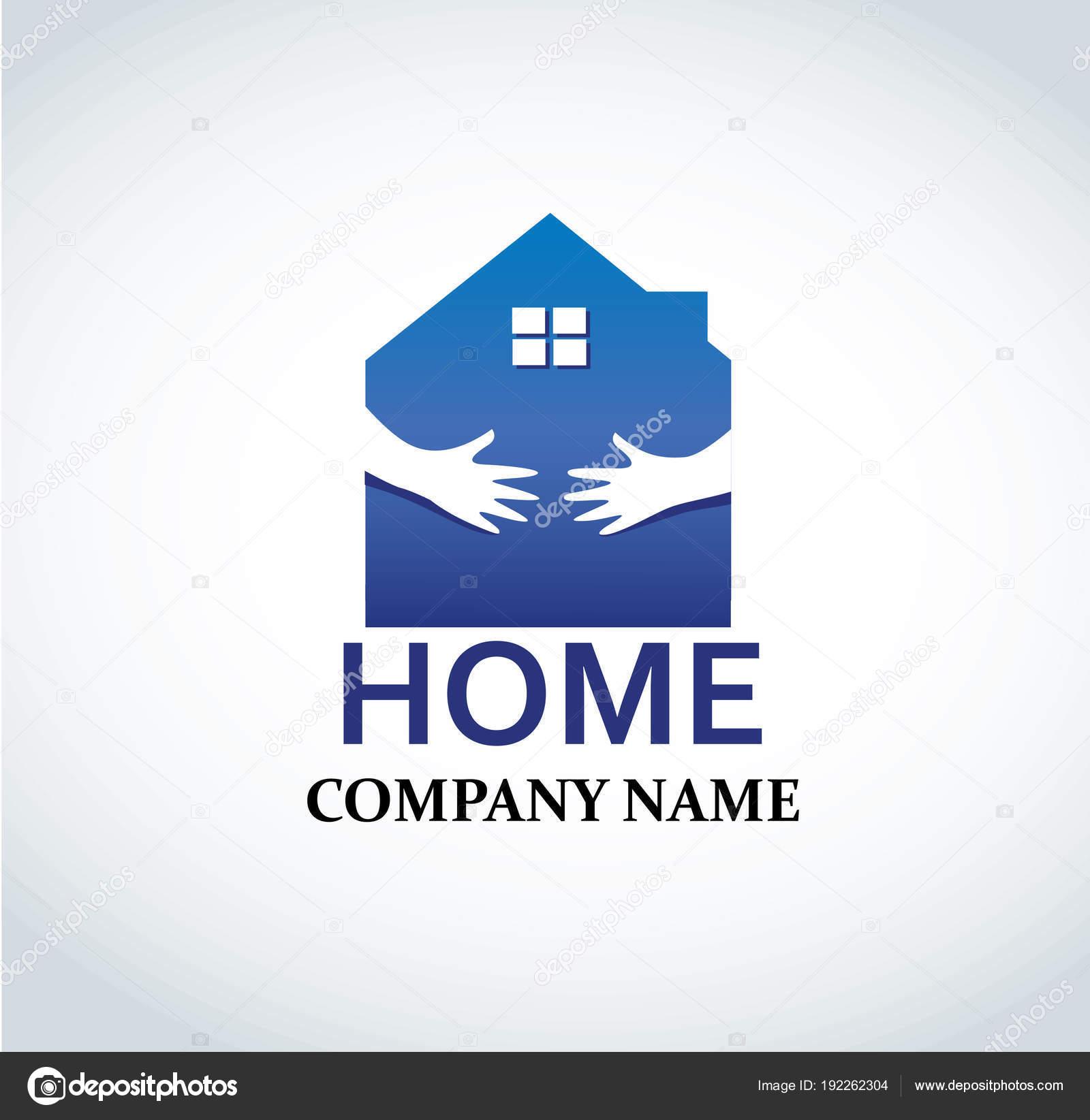 Hand Blauen Haus Logo Design Für Immobilien Eigentum Industrie ...