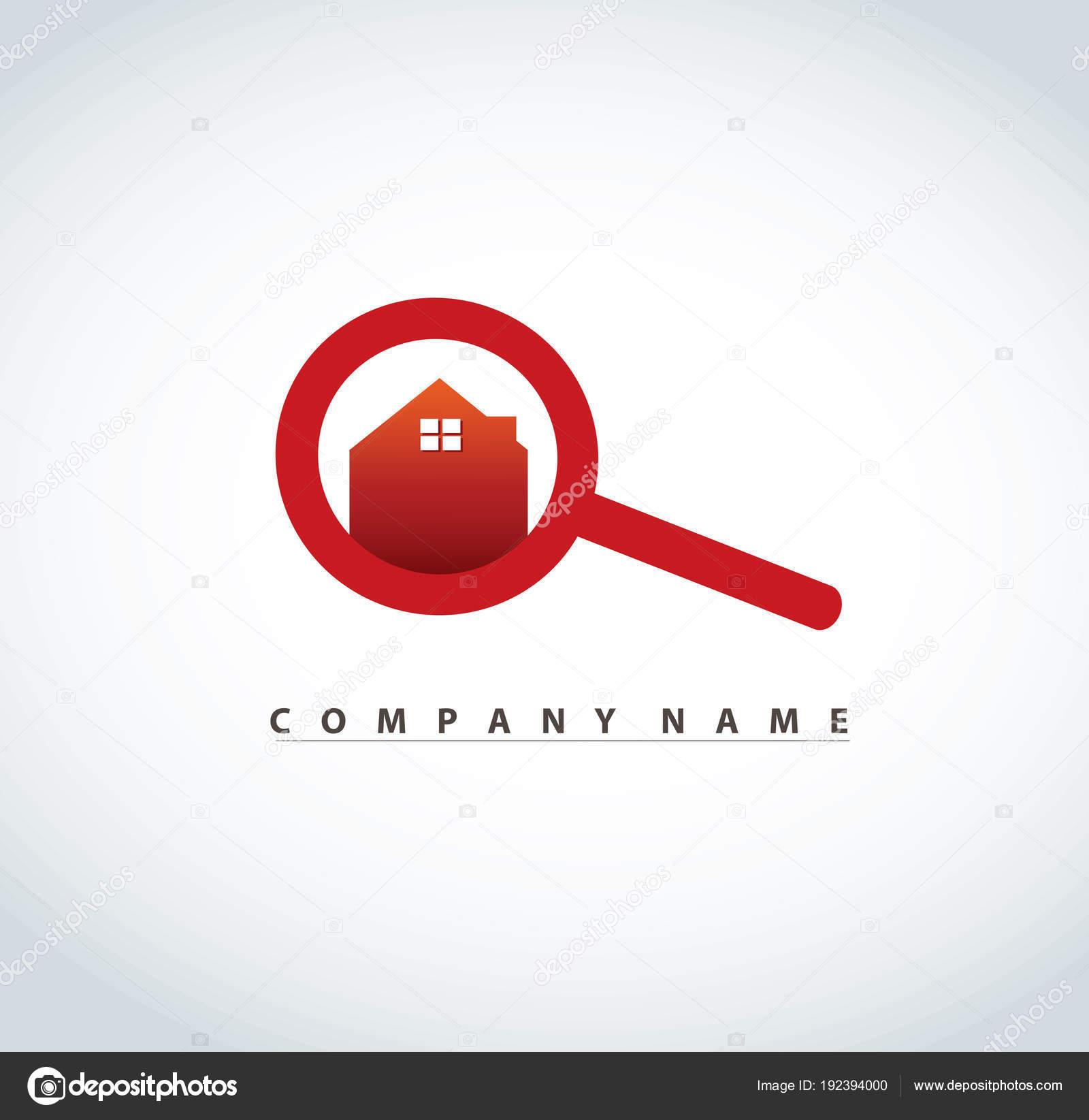 Lupe Mit Haus Logo Design Für Immobilien Eigentum Industrie Vektor ...