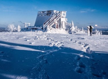 Velka Raca hill summit in Beskids mountains on slovakian - polish borders during nice winter day