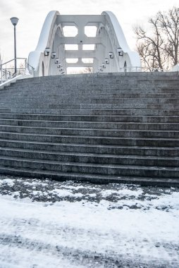 concrete bridge with stairs bellow and lamps in Karvina - Darkovi city in Czech republic