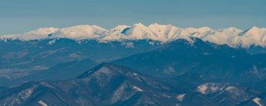Zapadne Tatry and nearest and lowest Velka Fatra mountains in Slovakia