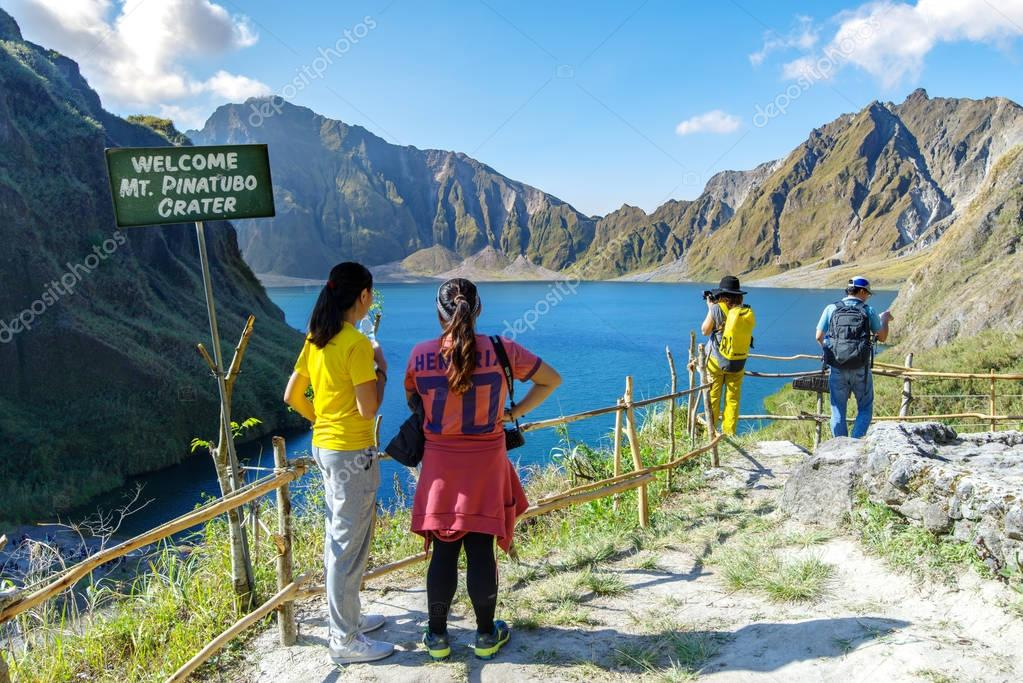 Feb 18,2018 Tourists admiring Mt. Pinatubo Crater lake, Capas