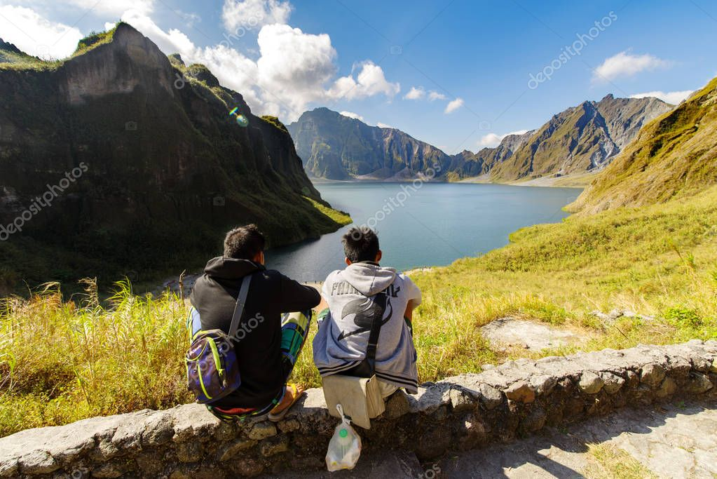 Feb 18,2018 Aboriginal guides resting on Mt. Pinatubo crater lake, Capas
