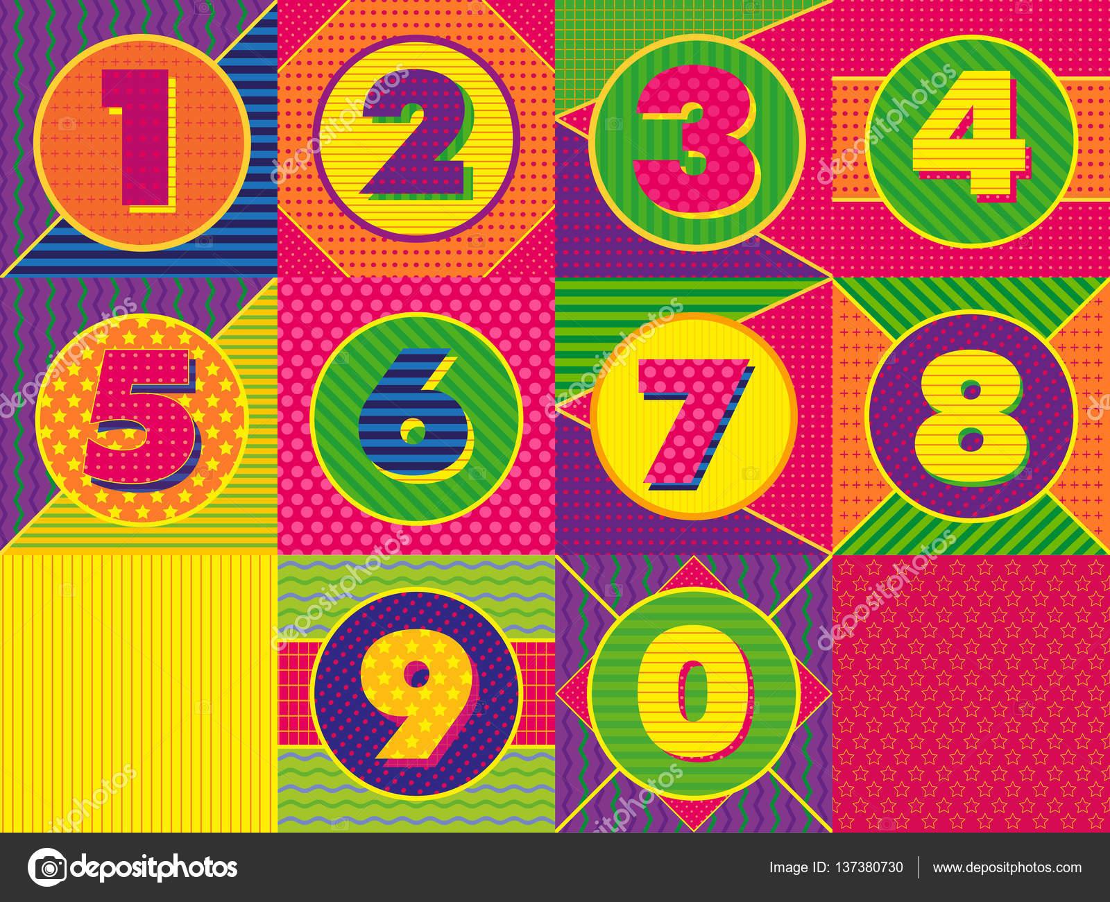 Los Números Establecer Fondo Geométrico Colorido Colores
