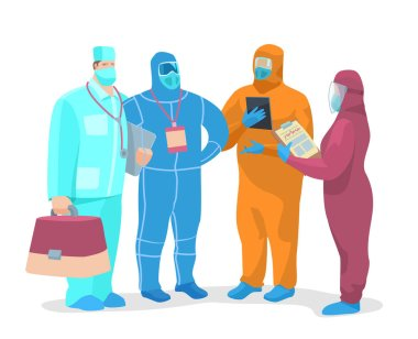 Vector stock illustration A team of virologists discussing, working on a pandemic problem. stock vector