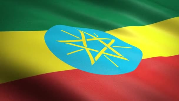 Flag of Ethiopia. Waving flag with highly detailed fabric texture seamless loopable video. Seamless loop with highly detailed fabric texture. Loop ready in HD resolution
