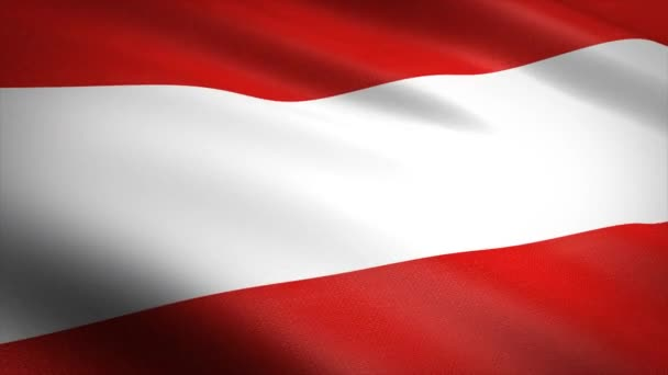 Flag of Austria. Waving flag with highly detailed fabric texture seamless loopable video. Seamless loop with highly detailed fabric texture. Loop ready in 4K resolution