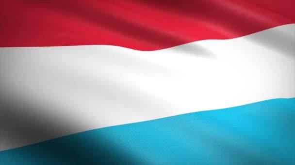 Luxembourg zászlója. Lengő zászló nagyon részletes szövet textúra zökkenőmentes hurkolható videó. Zökkenőmentes hurok rendkívül részletes szövet textúra. Hd felbontásban kész hurok