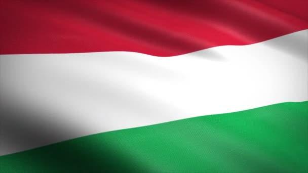 Magyarország zászlója. Lengő zászló nagyon részletes szövet textúra zökkenőmentes hurkolható videó. Zökkenőmentes hurok rendkívül részletes szövet textúra. A hurok 4k felbontásban kész