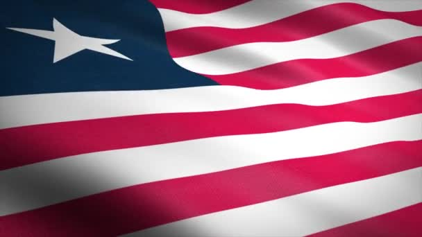 Flag of Liberia. Waving flag with highly detailed fabric texture seamless loopable video. Seamless loop with highly detailed fabric texture. Loop ready in 4K resolution