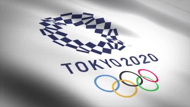 Zászló a 2020 Nyári Olimpia vagy Xxxii Olimpia Tokióban. Szerkesztői hurok 3D animáció. Kész a hurok. Közelkép 60fps