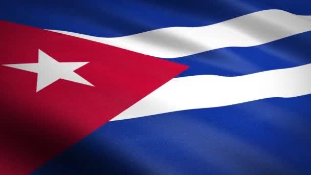 Kubánská vlajka. Vlnění vlajka s vysoce podrobnou texturou tkaniny bezešvé smyčkové video. Bezešvé smyčky s velmi detailní texturou tkaniny. Smyčka připravena v rozlišení HD