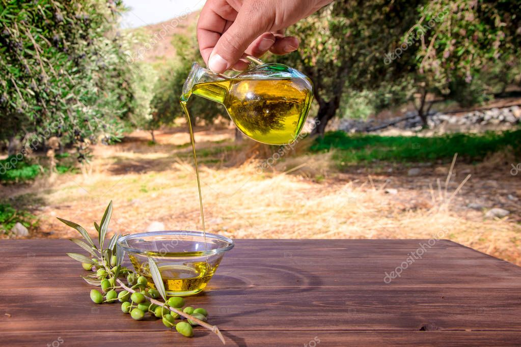 Bottle pouring cretan extra virgin olive oil in a bowl on wooden table at an olive tree field, Greece.