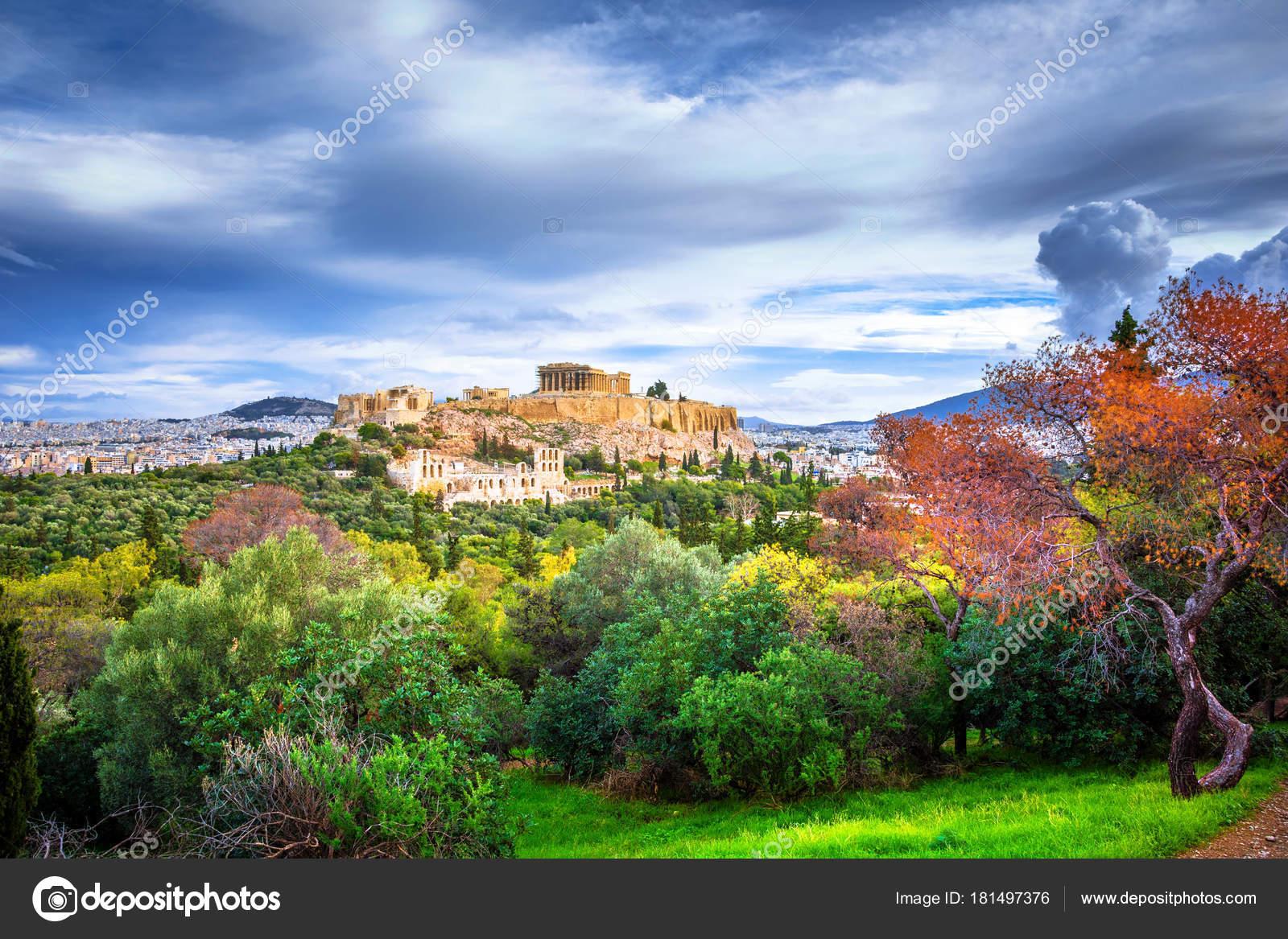 Acropolis Parthenon View Frame Green Plants Trees Ancient Marbles ...