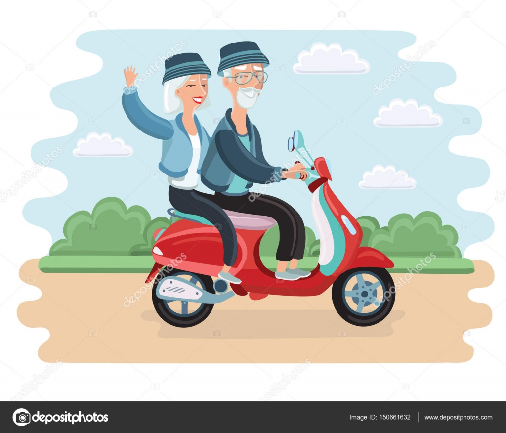 adventurous mature couple riding a scooter, eps 8 vector
