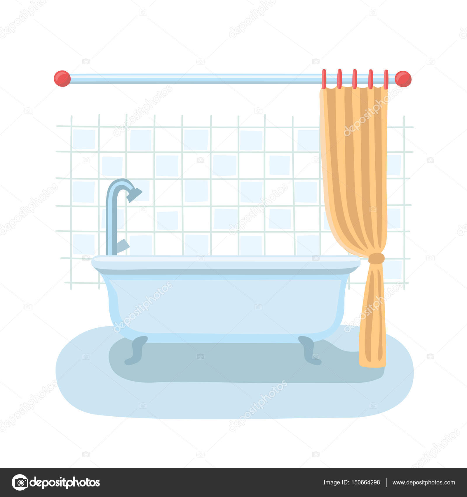 Cartoon Pictures Of Bathrooms: Bathroom Shower Interior In Flat Cartoon Vector Style With