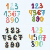 Set of numbers in rainbow colors