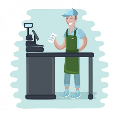 cashier man - vector illustration