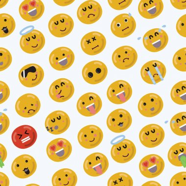 Vector cartoon funny smiley emojii face seamless pattern on white background. Different emotions. Colorful background clip art vector