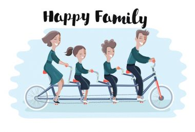 Happy family riding a tandem bicycle. Vector illustration.