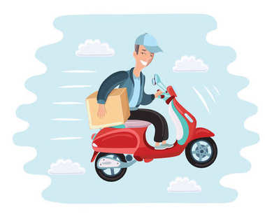 Courier rides on scooter. Colored and isolated