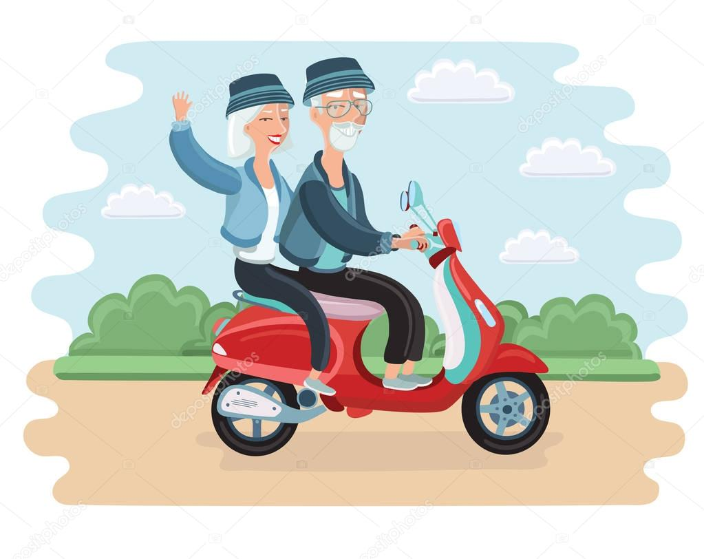Adventurous mature couple riding a scooter, EPS 8 vector illustration, no transparencies