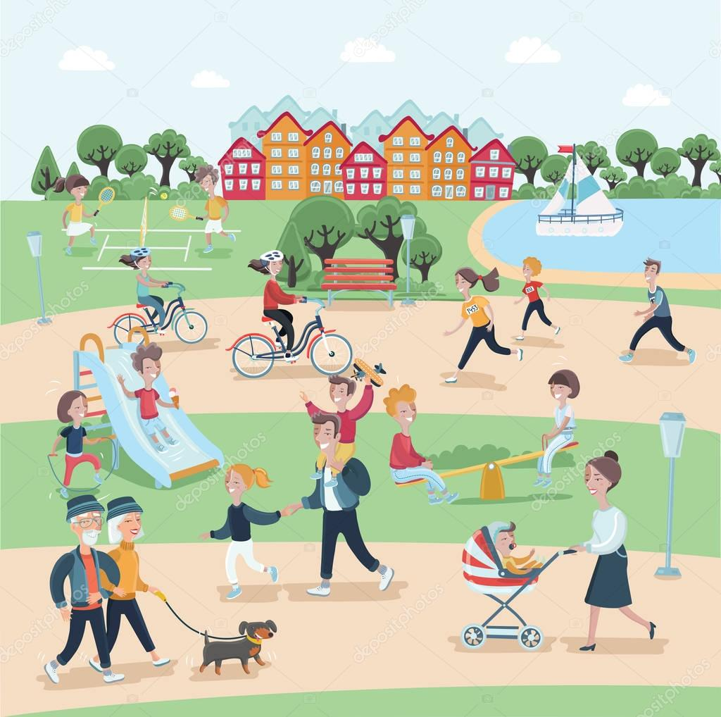 Vector illustration of people having activities in the park with rest. This content have detail of people activities in the park and rest with learn in park and use for advertising