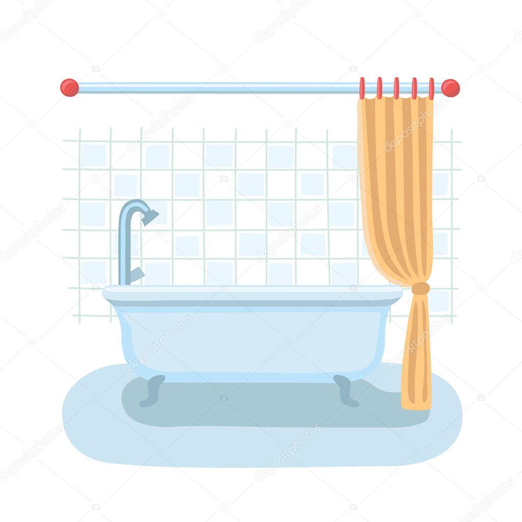 Interior de ducha cuarto de baño en estilo de vectores de ...
