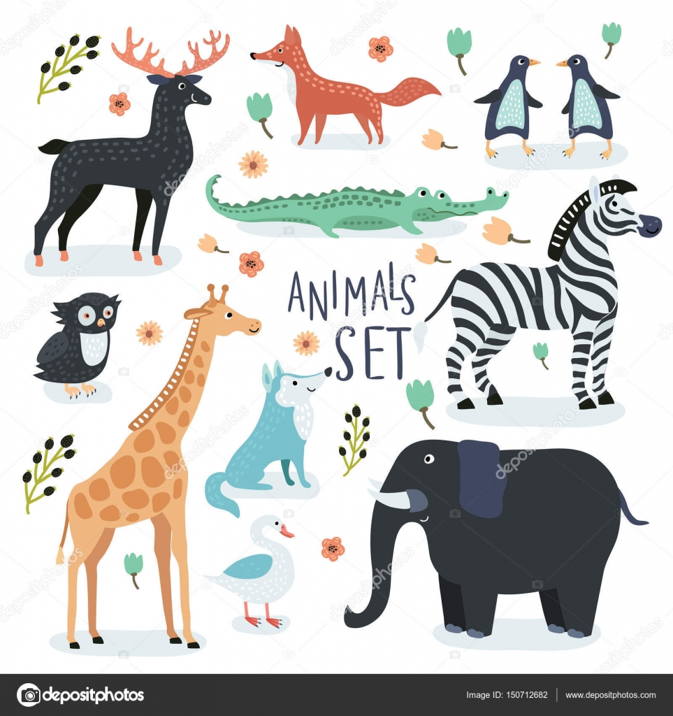 Vector Set Of Cartoon Illustrations Funny Cute Animals In Vintage Color By Cosmaa