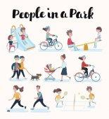 Fotografie Vektor-set Menschen in Situationen zu Hause und im park