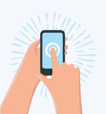 Vector funny cartoon illustration of hand holding smartphone. Finger touch display. Modern design concepts, graphics elements for banners, websites, mobile app, infographics clip art vector