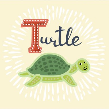 Vector illustration of turtle. B letter. Funny cartoon cute children animal in vector. stock vector